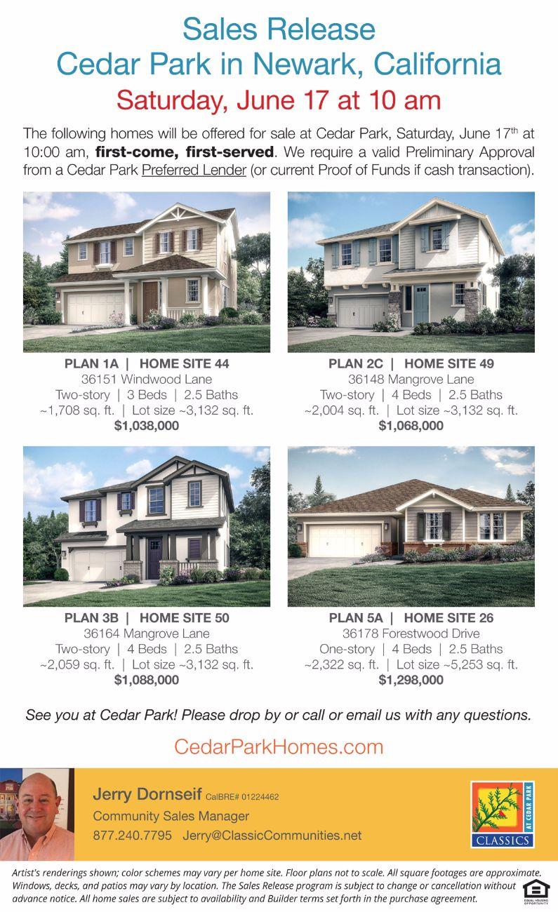 Cedar Park Newark Sales Release Saturday First Come